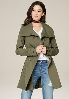 Pleated Flared Trench Coat