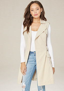 bebe Cargo Pocket Trench Coat
