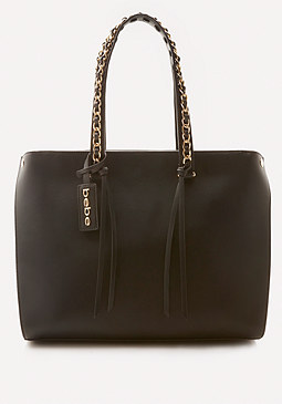 bebe Chain Trim Handle Tote