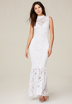 bebe Lace Mock Neck Maxi Dress