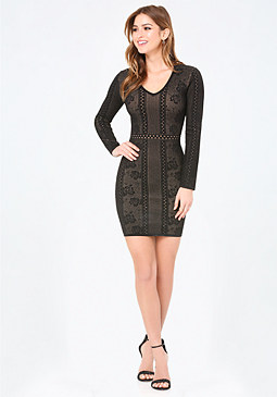 bebe Rose Jacquard Knit Dress