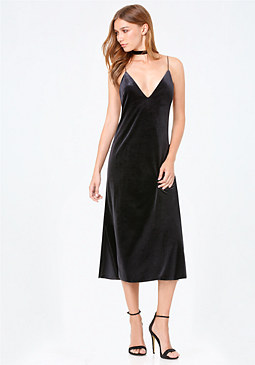 bebe Mara Velvet Slip Dress