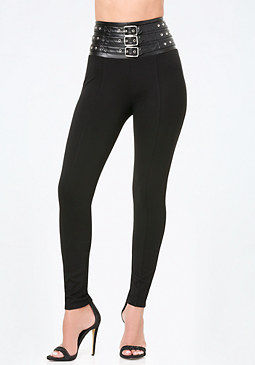 bebe Petite Belted High Leggings
