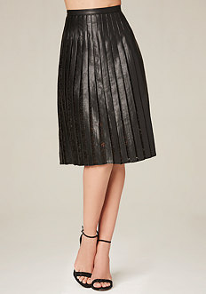 Pleated Lace Midi Skirt