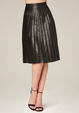 bebe Pleated Lace Midi Skirt