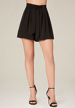 bebe Tie Waist Pleated Shorts