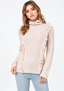 bebe Fringe Turtleneck Sweater
