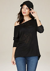 bebe Slub Knit Pocket Top