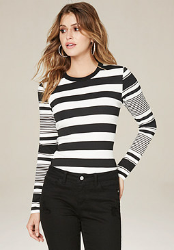 Mix Stripe Top at bebe