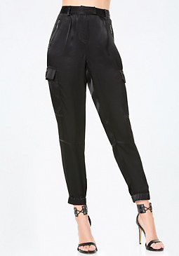 bebe Paragon Satin Cargo Pants