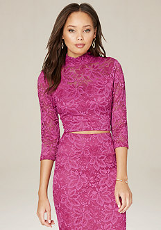 Brittany Lace Mock Neck Top