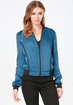 Satin Bomber Jacket at bebe