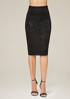 Lace Bodycon Midi Skirt