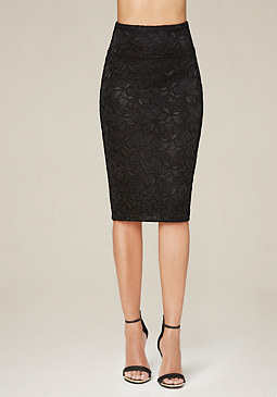bebe Lace Bodycon Midi Skirt