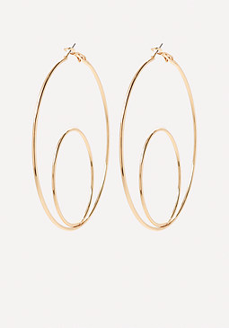bebe Geo Double Hoop Earrings