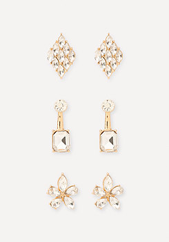 bebe Crystal Mix Earring Set
