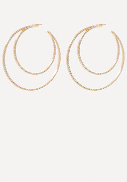 bebe Crystal 2-Hoop Earrings