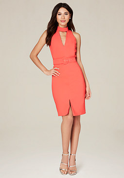 bebe Belted Midi Dress