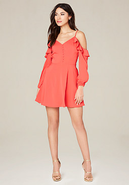 bebe Ruffle Cold Shoulder Dress
