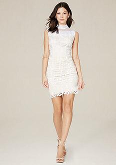 Lilah Lace Mock Neck Dress