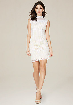 bebe Lilah Lace Mock Neck Dress