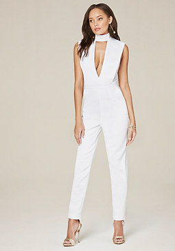 bebe Mock Neck Plunge Jumpsuit