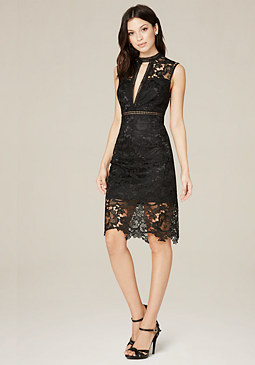 bebe Lydia Macrame Lace Dress