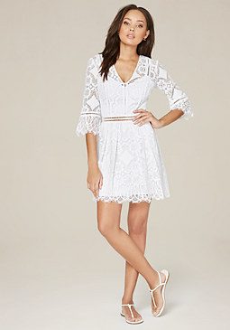 bebe Nancy Lace 3/4 Sleeve Dress