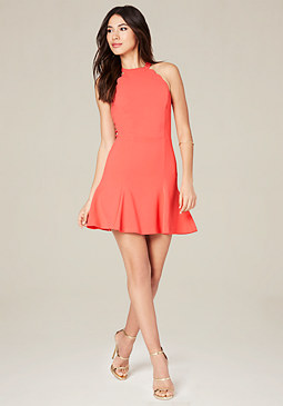 bebe Scallop Detail Dress
