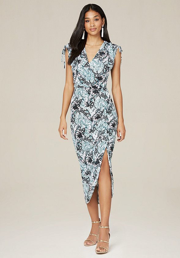 Print Shirred Midi Dress