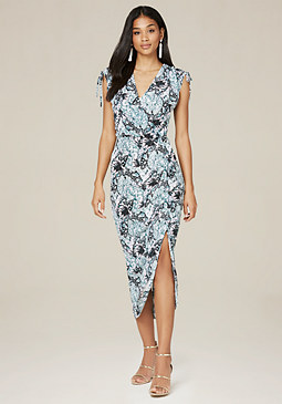 bebe Print Shirred Midi Dress