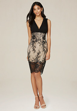 bebe Georgette & Lace Dress