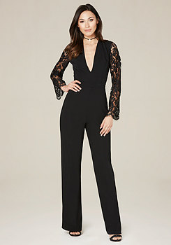 bebe Lace Sleeve Jumpsuit