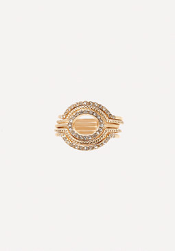 bebe Crystal Stackable Ring Set