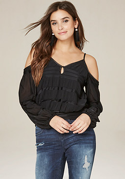 bebe Banded Cold Shoulder Top