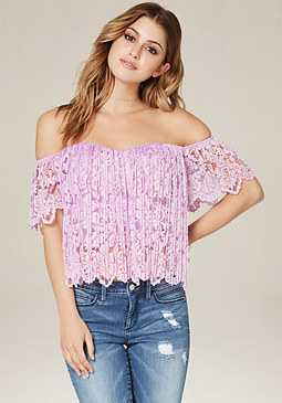 bebe Lace Sweetheart Top