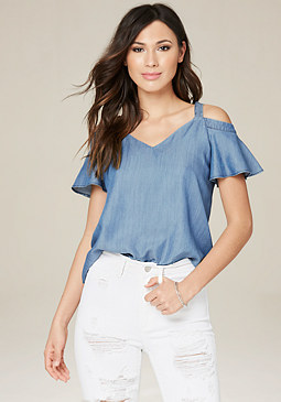bebe Flutter Sleeve V-Neck Top