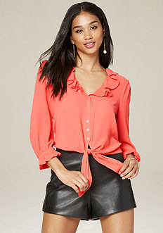 Ruffle Neck Button Top