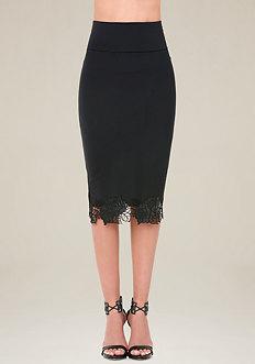 Floral Trim Midi Skirt