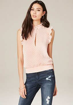 bebe Textured Dot Ruffle Top