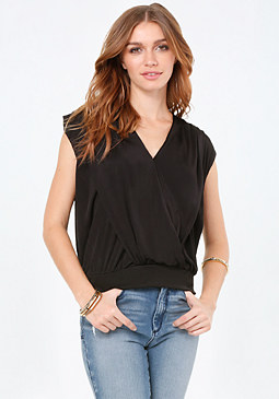 bebe Shirred Shoulder Top