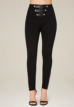 bebe High Rise Military Leggings