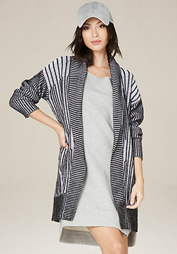 bebe Ribbed Long Cardigan