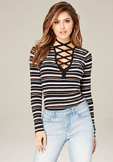 bebe Striped Lace Up V-Neck Top