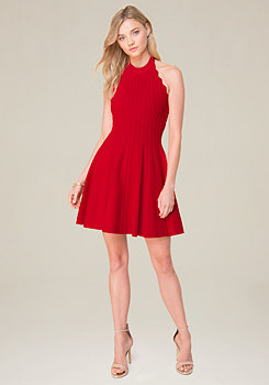 bebe Scallop Trim Halter Dress