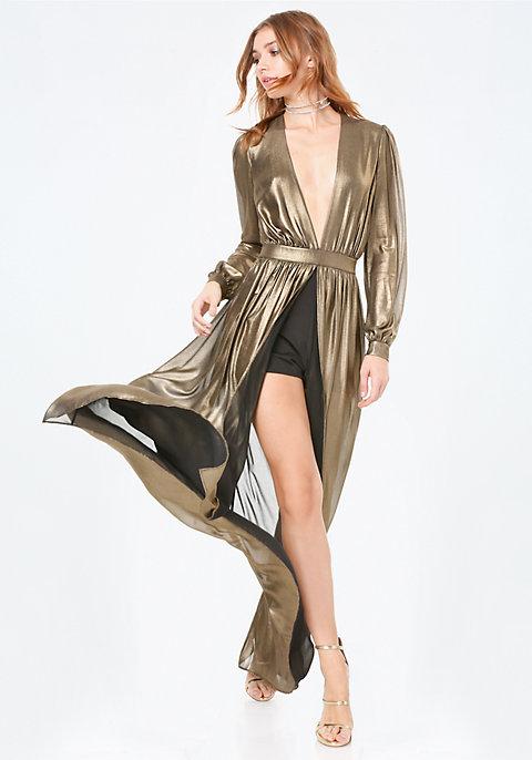 Gold Metallic Shorts Gown | bebe
