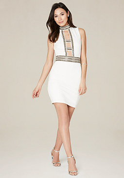 bebe Embellished Cage Dress
