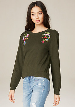 bebe Embroidered Flower Sweater