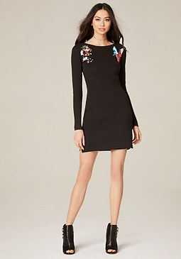 bebe Embroidered Sweater Dress