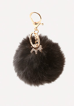 bebe Faux Fur Pom Pom Key Chain
